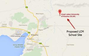 Kisumu, Kenya showing location of LCM School site