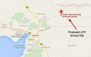Kisumu, Kenya showing location of LCM School site
